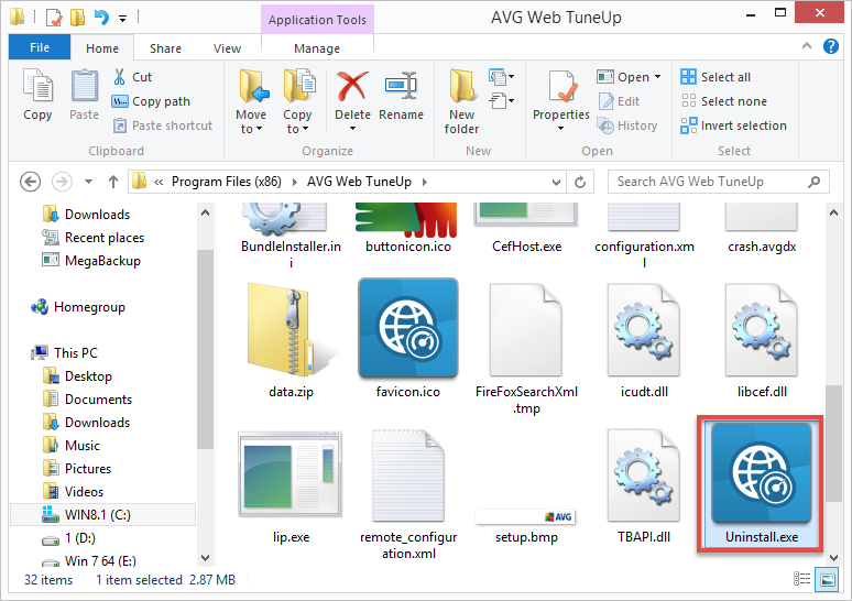AVG Web Tuneup built-in uninstaller