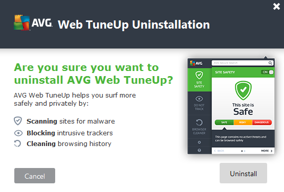 AVG Web Tuneup uninstall prompt