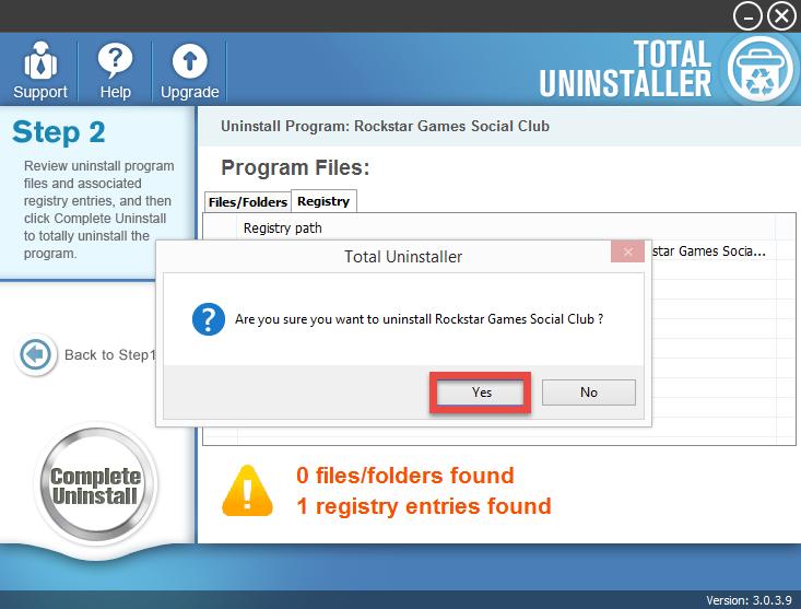 uninstall Rockstar Games Social Club with Total Uninstaller (2)