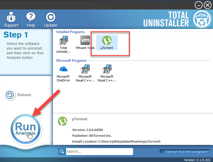 uninstall µTorrent with TU