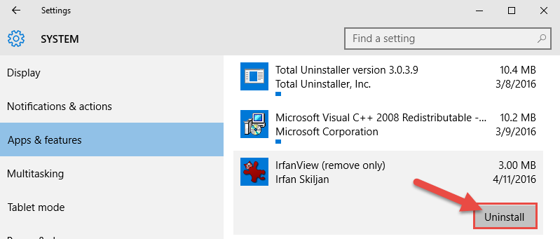 uninstall win10