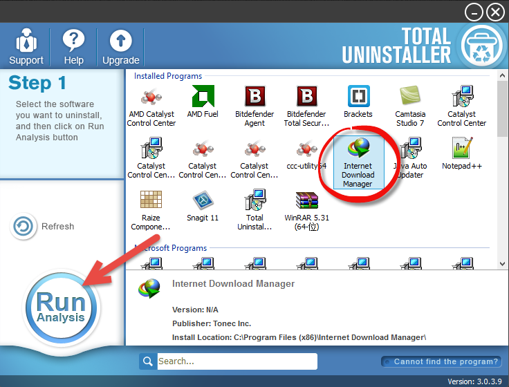 Uninstall Internet Download Manager with Total Unisntaller (1)