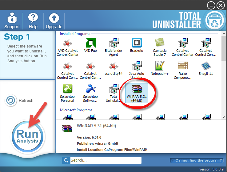 remove WinRAR (64-bit) with total uninstaller