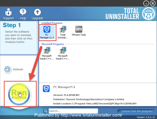 uninstall Tencent PC Manager with Total Uninstaller