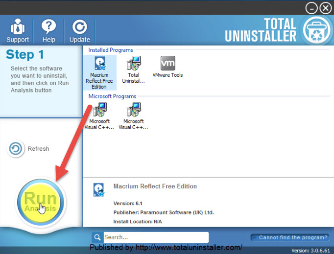 uninstall Macrium Reflect Free with Total Uninstaller