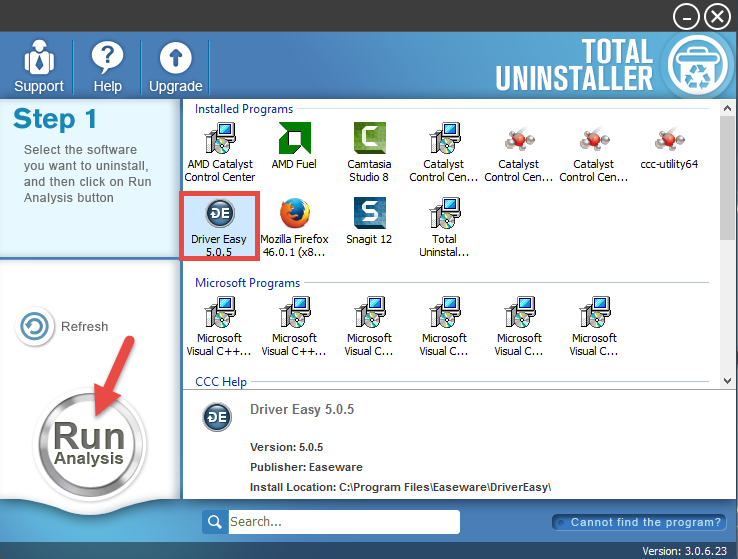 uninstall Driver Easy with Total Uninstaller