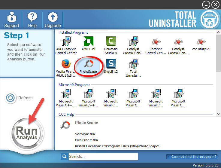 uninstall PhotoScape with total uninstaller (1)