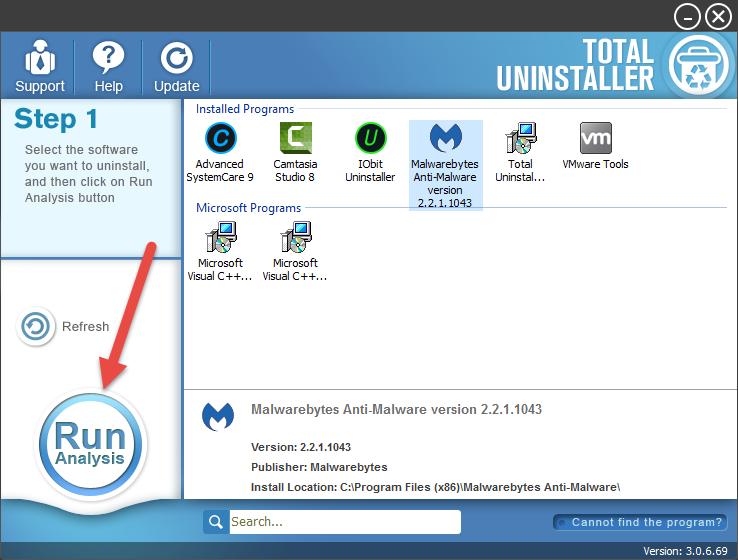 uninstall Malwarebytes Anti-Malware Free