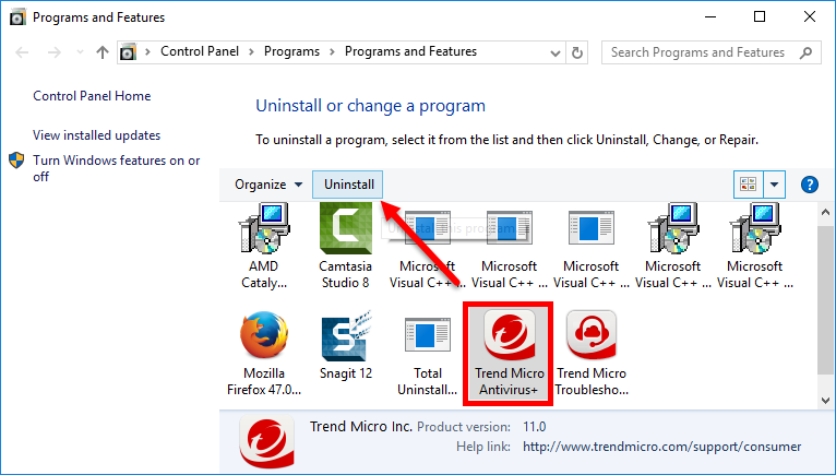 how to uninstall Trend Micro Antivirus+ (15)