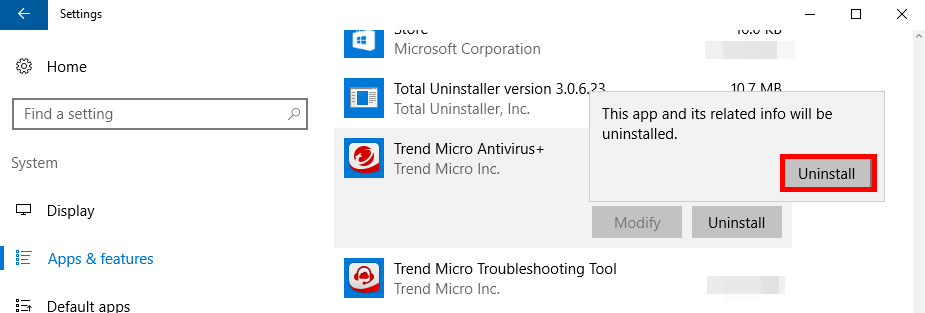 how to uninstall Trend Micro Antivirus+ (2)