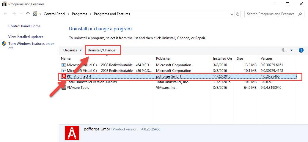 remove PDF Architect manually