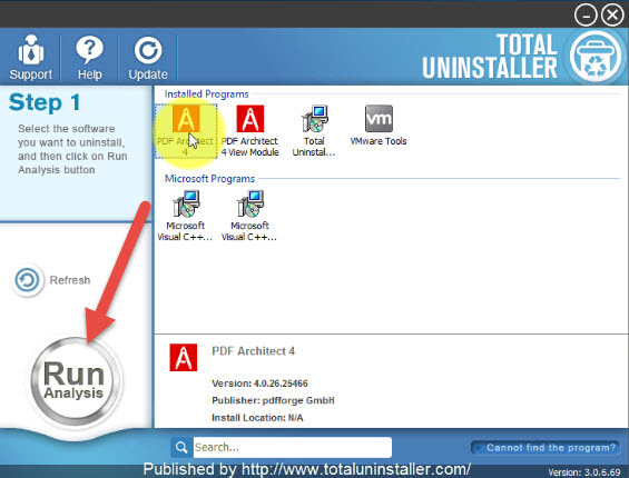 uninstall PDF Architect with Total Uninstaller