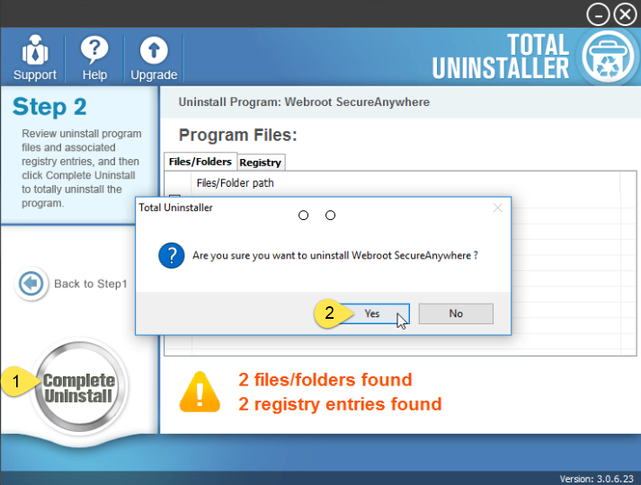 uninstall Webroot SecureAnywhere Antivirus 2016 using Total Uninstaller (2)