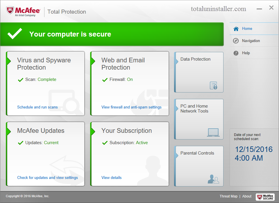 mcafee total protection uninstall