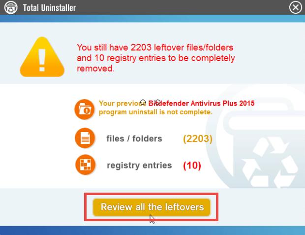 Uninstall Bitdefender Antivirus Plus 2015 on Windows - Total Uninstaller (11)