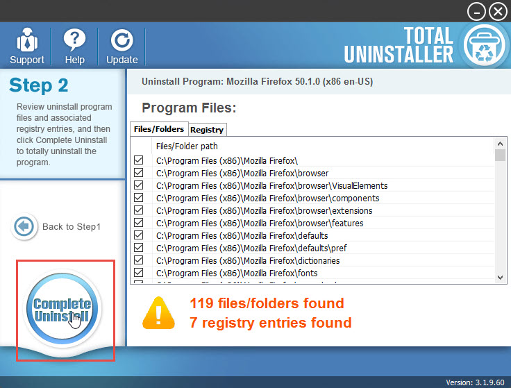 complete uninstall Firefox