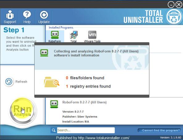 uninstall RoboForm with Total Uninstaller