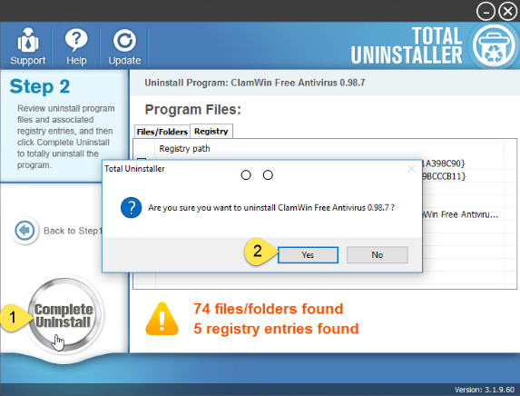 uninstall ClamWin Antivirus on Windows - Total Uninstaller (8)