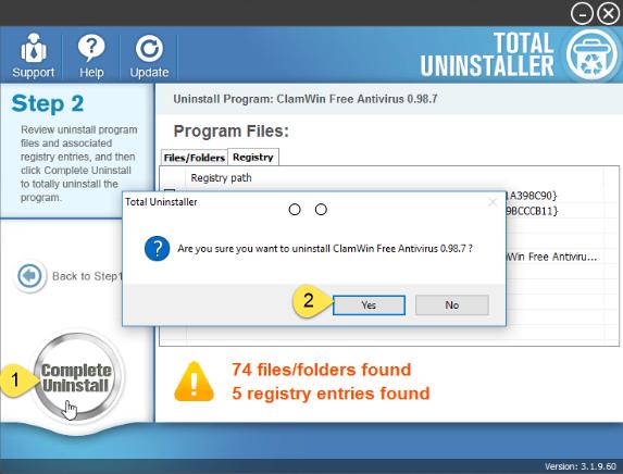 uninstall ClamWin Antivirus on Windows - Total Uninstaller (8)