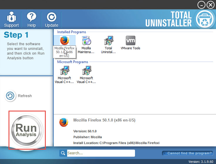 uninstall Mozilla Firefox with Total Uninstaller