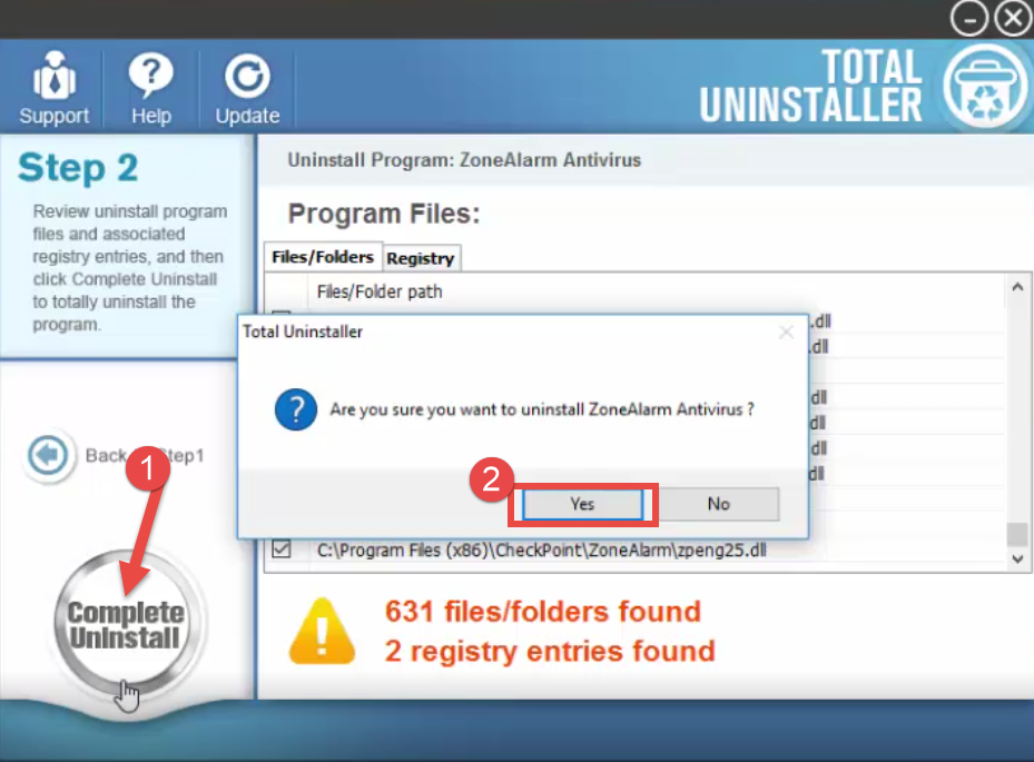 Uninstall ZoneAlarm Pro Antivirus + Firewall - Total Uninstaller (10)