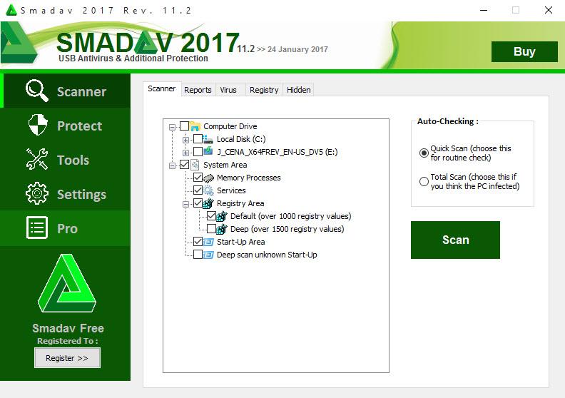 uninstall SmadAV 2017