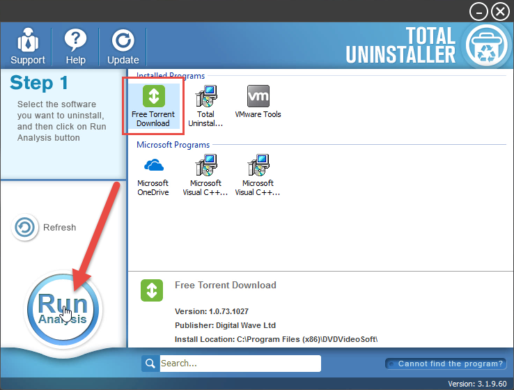 remove Free Torrent Download by Total Uninstaller
