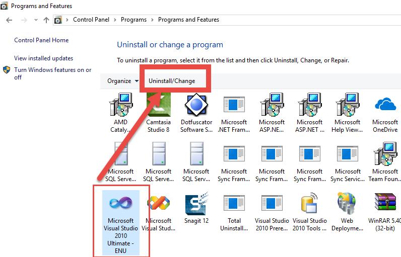 uninstall Microsoft Visual Studio manually