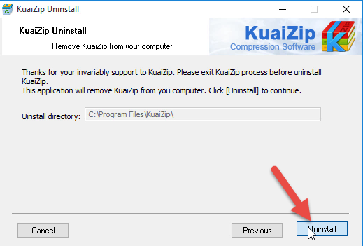 how to delete kuaizip from computer folder