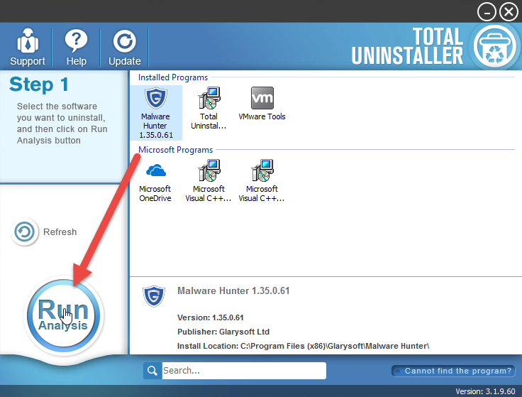 uninstall Malware Hunter with Total Uninstaller