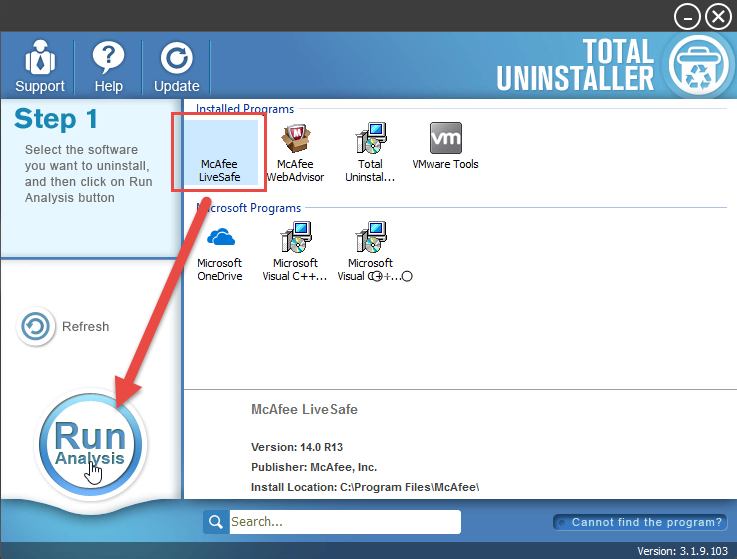 uninstall McAfee LiveSafe with Total Uninstaller