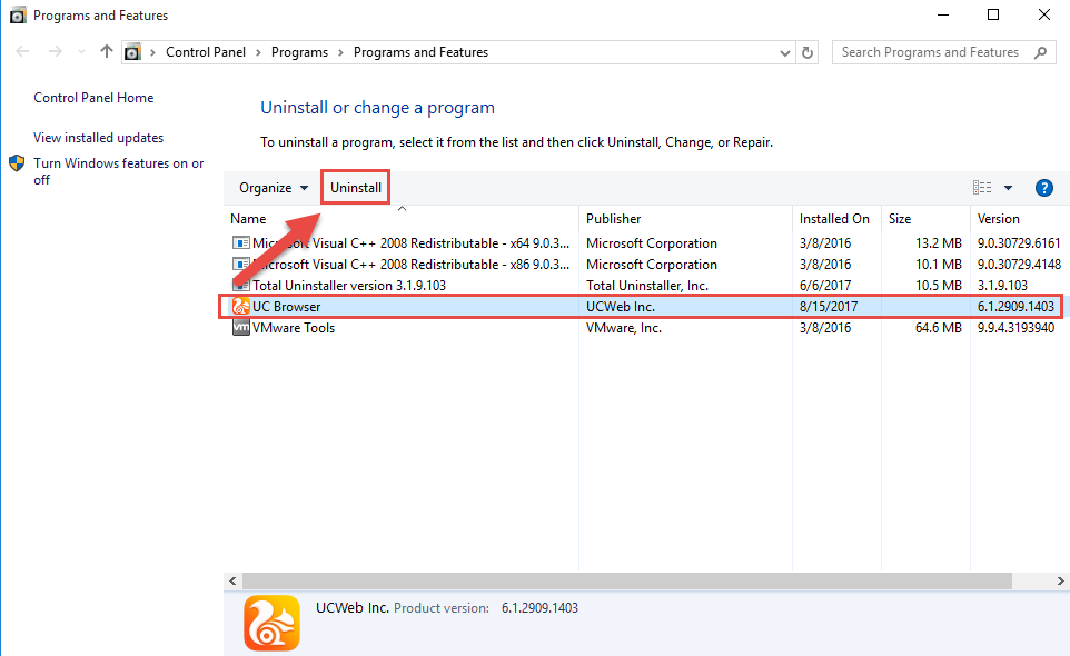 remove_UC_Browser_manually