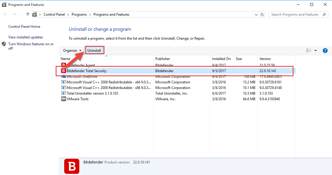 uninstall_Bitdefender_Total_Security_manually