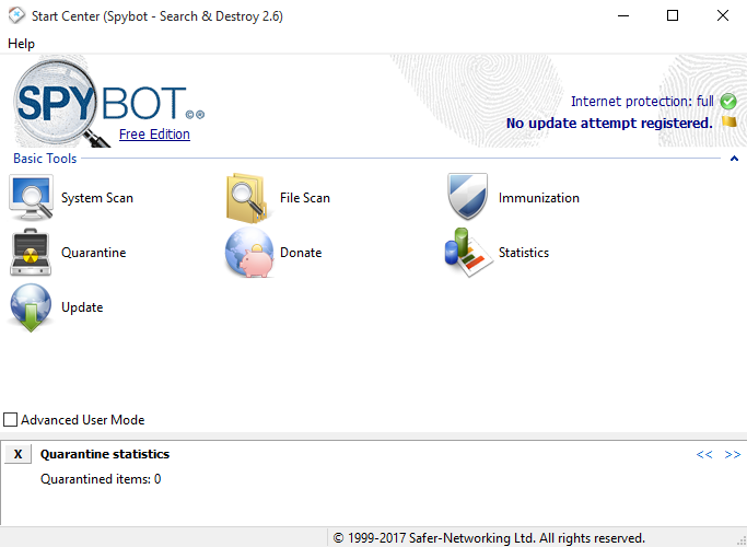 uninstall Spybot-Search and Destroy
