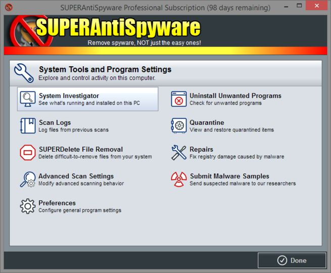Uninstall SuperAntiSpyware Free Edition