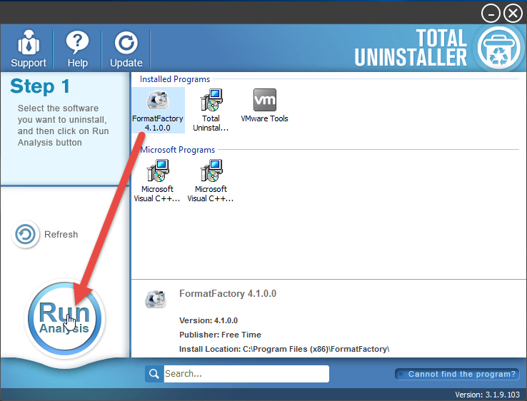 uninstall FormatFactory with TU