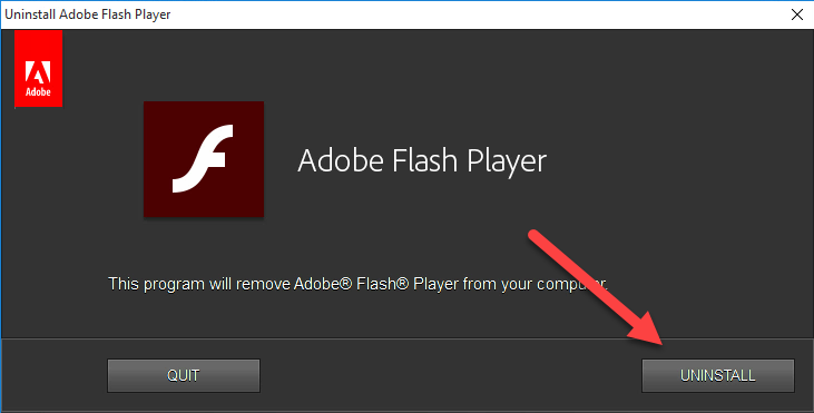 remove Adobe Flash Player manually