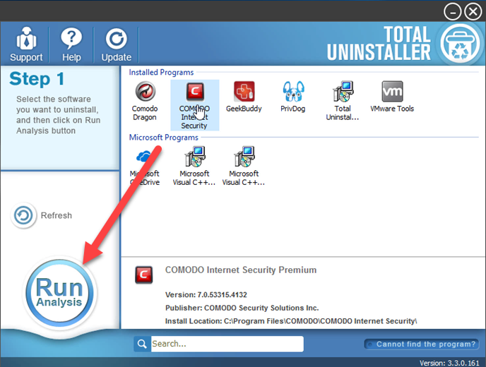 uninstall COMODO Internet Security with TU