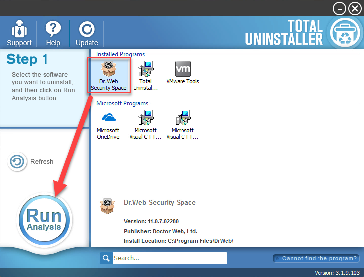 uninstall Dr.Web with Total Uninstaller