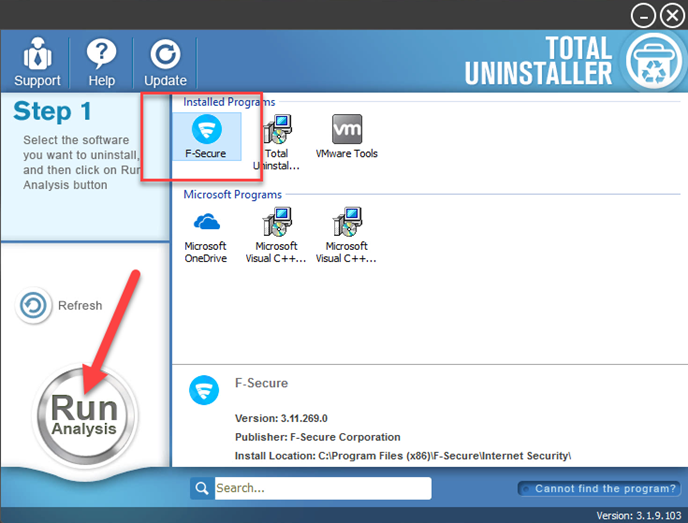 uninstall F-Secure AntiVirus with