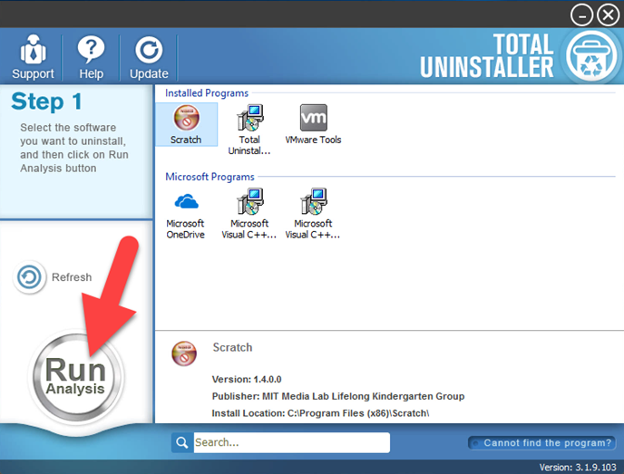 uninstall Scratch with Total Uninstaller