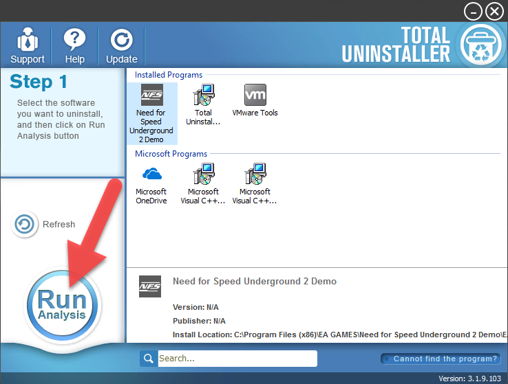 uninstall Need for Speed Underground 2 with Total Uninstaller
