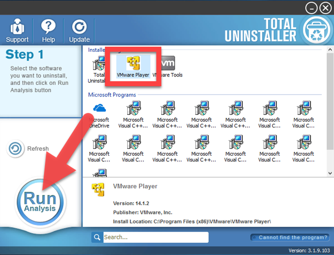 uninstall VMware Player with Total Uninstaller