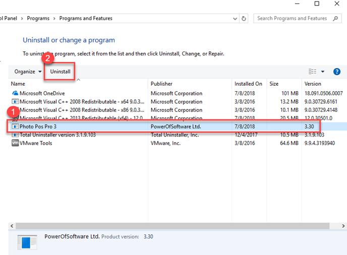 remove Photo Pos Pro on Windows