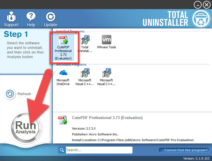 uninstall CutePDF with Total Uninstaller