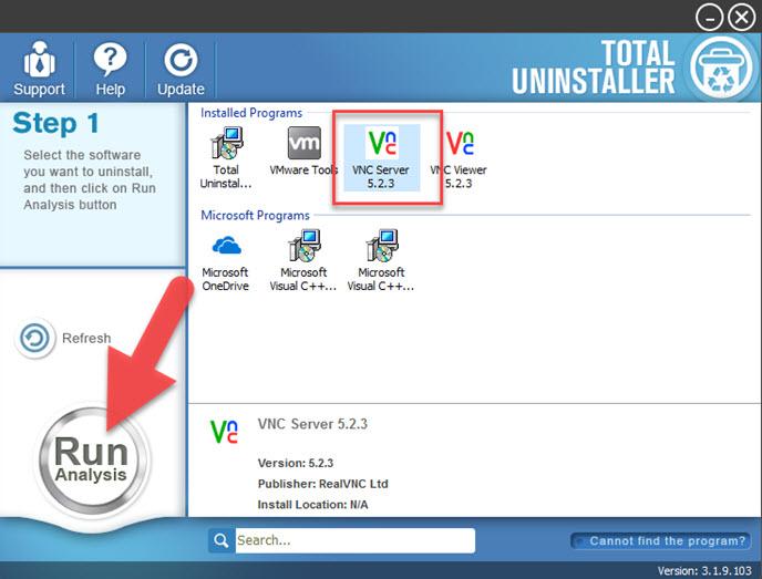 uninstall VNC Server