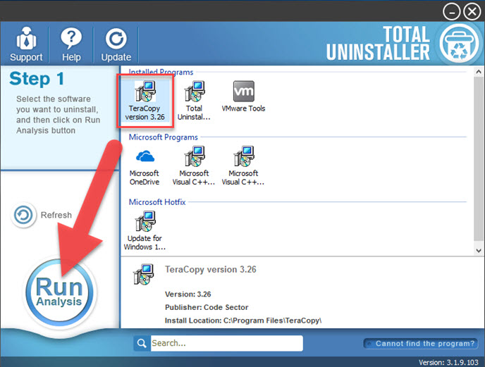uninstall TeraCopy