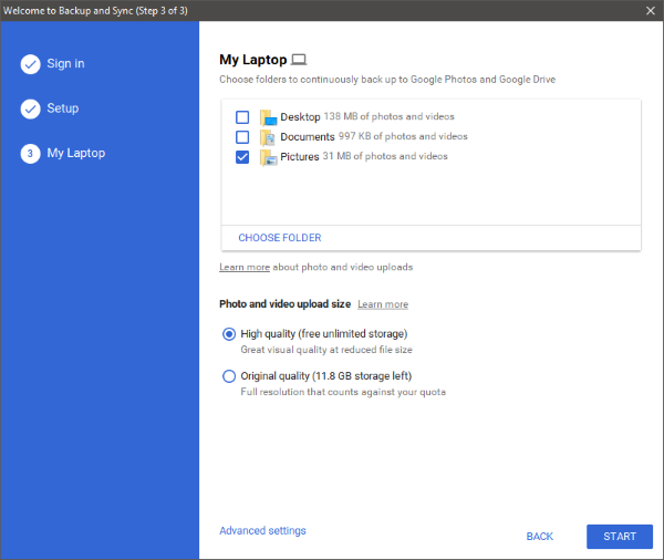 Google Backup and Sync for Windows