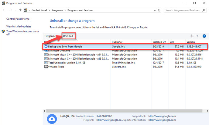 Guides to Stop and Uninstall Google Backup and Sync on Windows