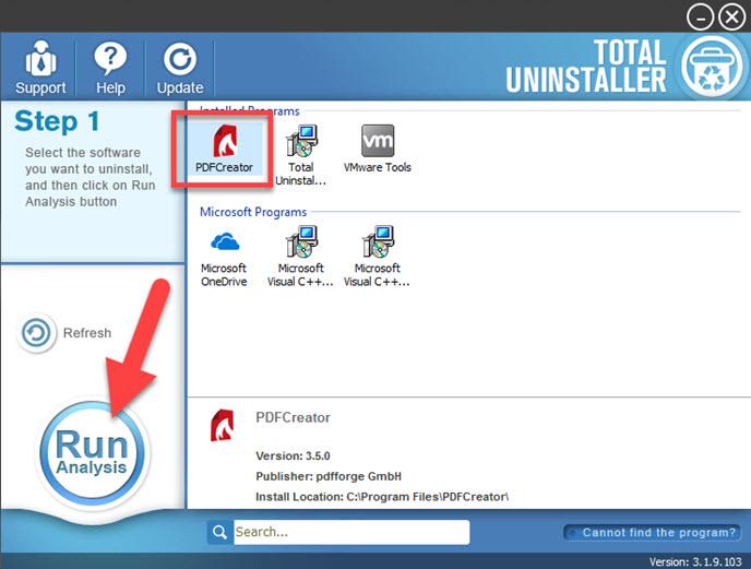 uninstall PDFCreator with TU